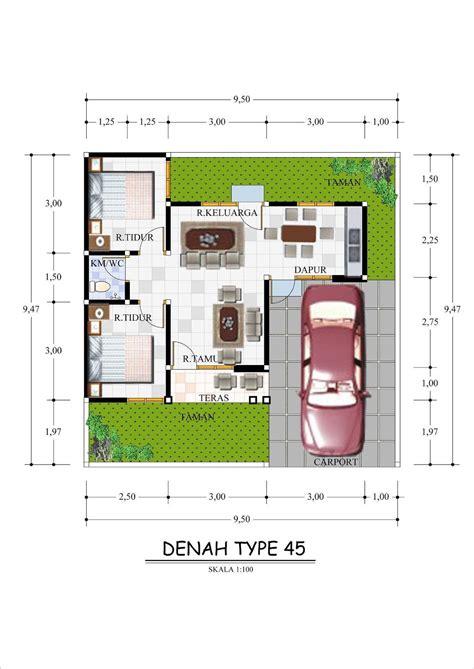 gambar macam denah rumah type  minimalis modern