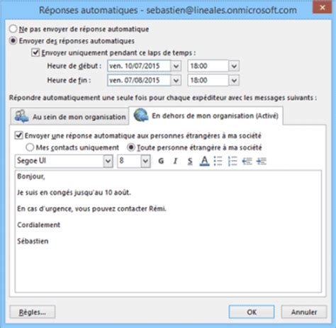 message absence bureau outlook configurer le message d 39 absence du bureau dans outlook