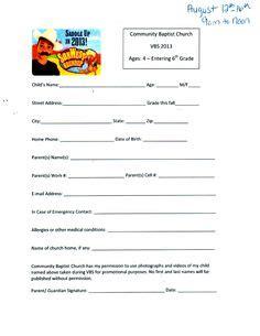 sunday school registration form biz card sunday school