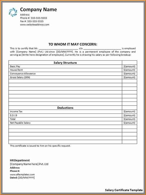 employee salary certificate simple salary slip