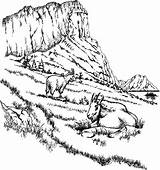 Goat Mountain Coloring sketch template