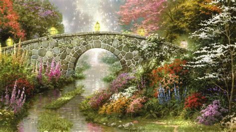 thomas kinkade painting bridge flowers stream lantern