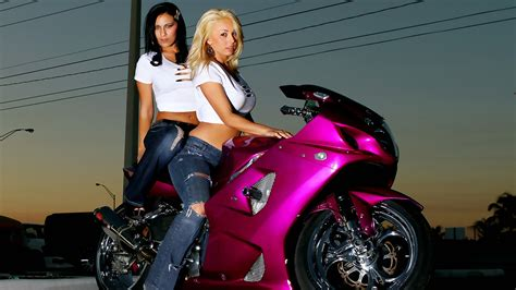 Girls-and-sports-bike-pink-wallpapers