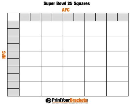 printable super bowl squares  grid office pool