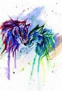 Rainbow Wolves by Lucky978 on DeviantArt  Colorful Wolf Painting