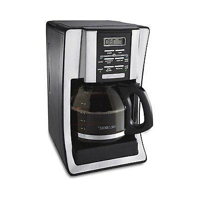 Wake up to a freshly brewed pot of coffee in the morning, or set up ahead of time when entertaining to serve with ease. Mr. Coffee BVMC-SJX33GT 12-Cup Programmable Coffeemaker, Chrome, NEW