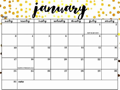 January Calendar 2019 Printable Design Template