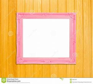 Pink Vintage Picture Frame On Blue Wood Background Royalty ...