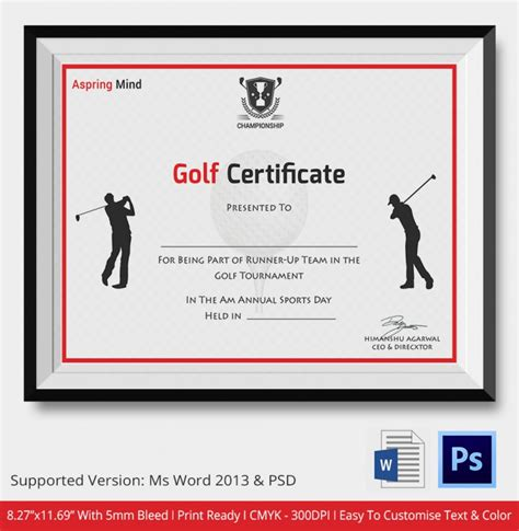 golf certificates psd word designs design trends