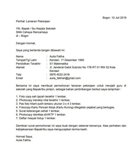 Contoh Cv Lamaran Kerja Sederhana Best Resume Examples