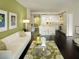 green accent wall living room contemporary with green With kitchen colors with white cabinets with stuffed animal wall art