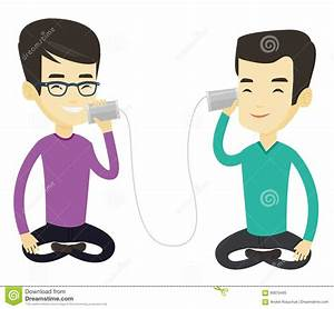 Young Friends Talking Through Tin Phone. Stock Vector ...