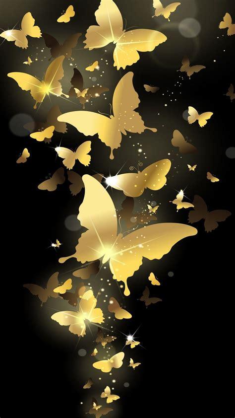 gold butterflies  black wallpaper butterfly wallpaper