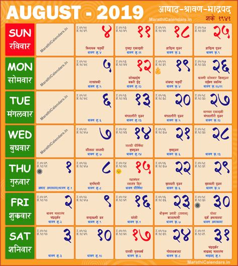 marathi calendar august saka samvat shravan