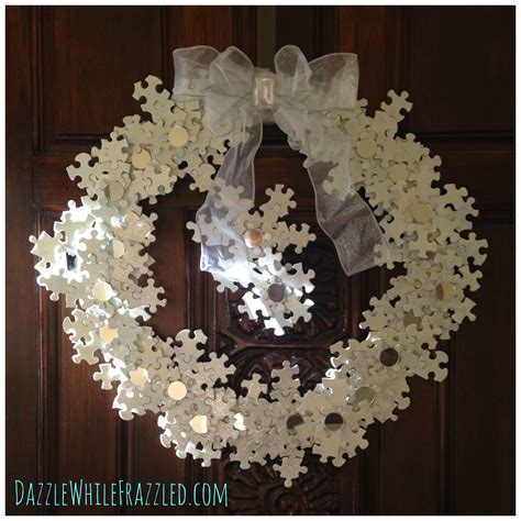 make a stunning winter snowflake wreath from puzzle pieces