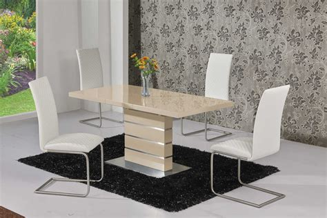 high glass dining table extending cream high gloss dining table and 4 white chairs