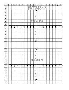 Coordinate Grid Battleship (4 Quadrant) By Sarah Gilbert Tpt