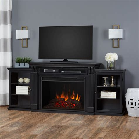 black electric fireplace tv stand real tracey grand 84 in electric fireplace tv stand