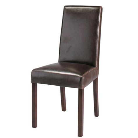 chaises en cuir chaise en cuir et bois marron harvard maisons du monde