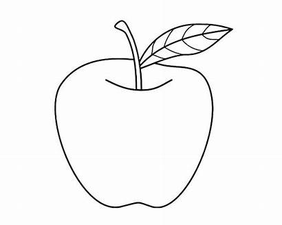 Apple Coloring Pages Drawing Fruit Outline Nice
