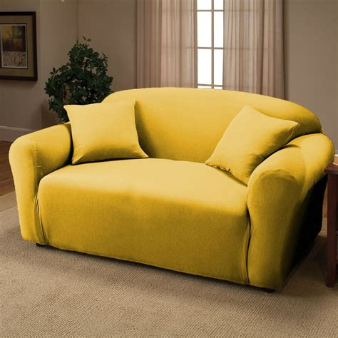 Yellow Loveseat Slipcover yellow jersey loveseat stretch slipcover cover