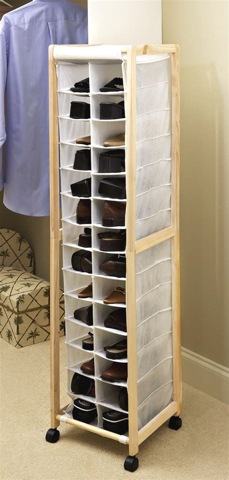 New Rolling Portable Shoe Storage Tower 14 Pair Closet
