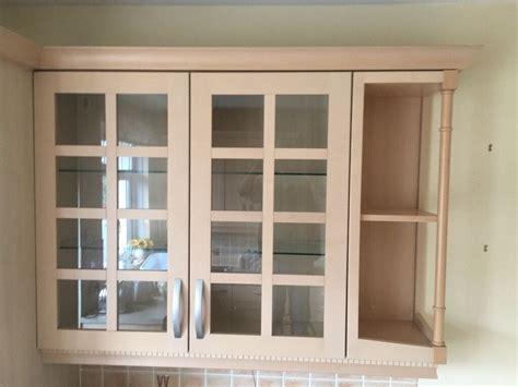 light beech wood kitchen display wall cupboard  glass