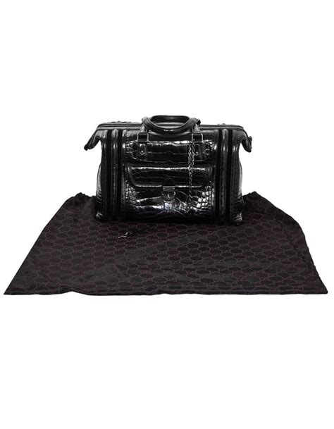 gucci special order runway black alligator boston doctor bag  sale  stdibs