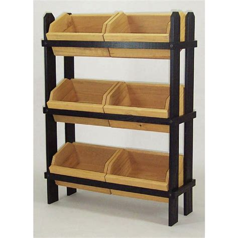 Display Racks by Wood Display Racks With Rustic Oak Stained Wood