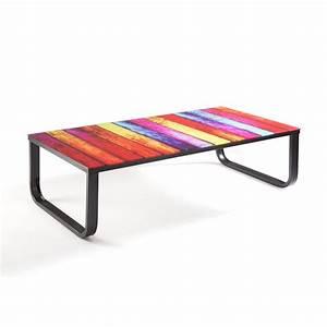 Table Basse Verre Trempé : table basse multi couleur en verre tremp maison et styles ~ Teatrodelosmanantiales.com Idées de Décoration