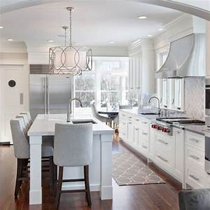 Beautiful white grey kitchen kitchen reno pinterest for Kitchen colors with white cabinets with carolyn kinder wall art