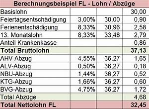 Lohn Berechnen Netto : informationsbrosch re ber das arbeiten in liechtenstein informationen home arbeit schweiz ~ Themetempest.com Abrechnung