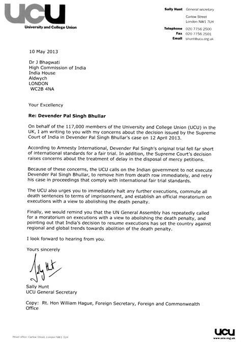 university  college union ucu letter  indian high