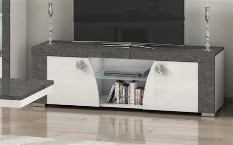 click  giulio soft white  grey marble tv stand cm