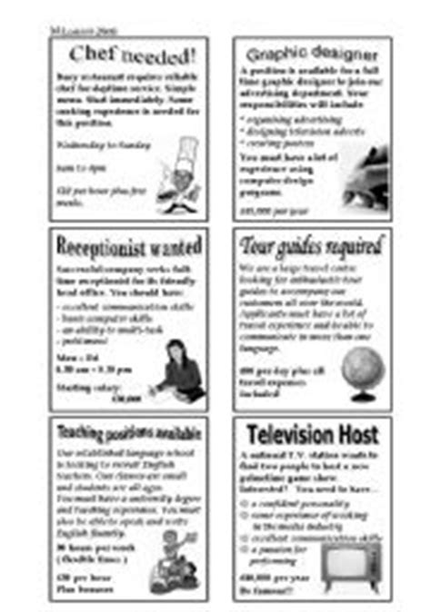 newspaper job advertisements esl worksheet  angryparrot