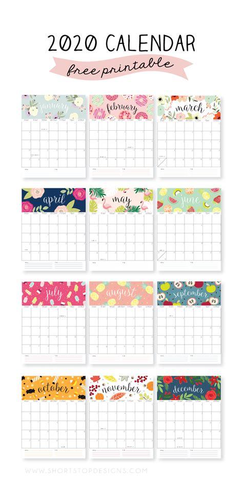 Both sunday start, monday start. 2020 Printable Calendar - Short Stop Designs