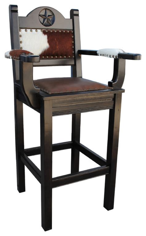 "Texas Western Bar Stool, Arms, 24"" Counter Height"