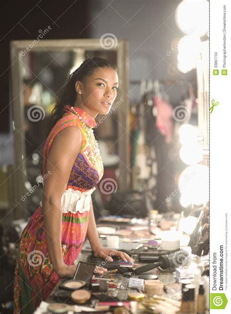 fashion model  cosmetics  dressing room stock images