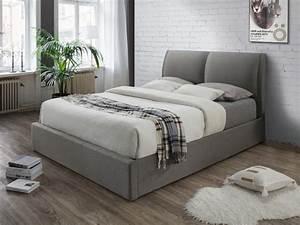 Lit A Coffre : lit coffre alceo tissu gris clair 160 200cm ~ Teatrodelosmanantiales.com Idées de Décoration