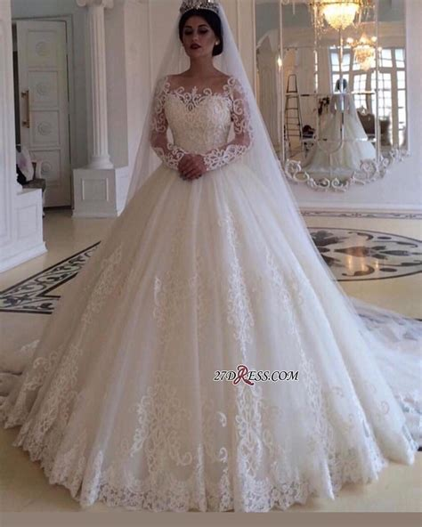 glamorous bateau long sleeves wedding dress lace