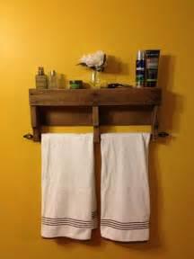 rustic pallet bathroom shelf and towel rack pallet furniture diy
