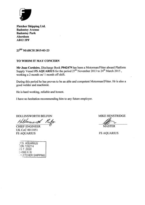 Reference letter(Fletcher shipping)