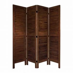 Shop Oriental Furniture Room Dividers 4-Panel Burnt Brown