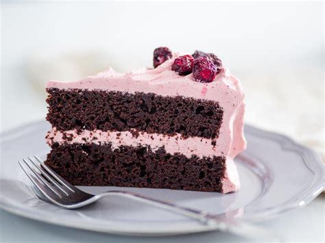 pretty  pink chocolate cherry layer cake  valentine