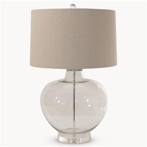 clear glass table lamp  linen shade annie mos