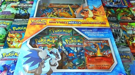 ouverture du coffret pokemon mega dracaufeu   ma