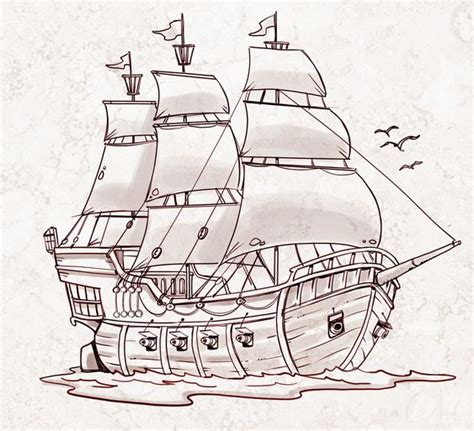 How To Draw A Tudor Boat by Pirate Ship A Sketch For A How To Draw Book My