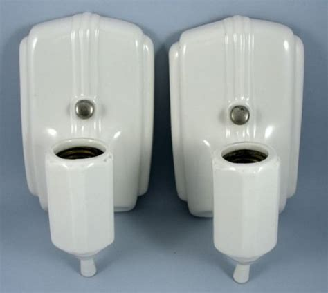 Deco Bathroom Lighting Fixtures by Details About Vintage Deco White Porcelain Wall Sconce