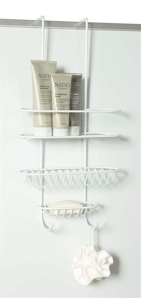 shower caddy  wall  door white  storage box