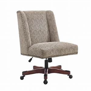 Linon Draper Swivel Fabric Upholstered Office Chair in